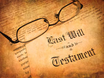 Last Will and Testament. Envelope with Last Will and Testament and Reading Glasses Royalty Free Stock Photography