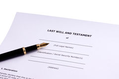 Last Will and Testament. With Fountain PEn stock photos