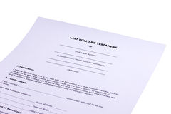 Last Will and Testament. With partial white background stock images