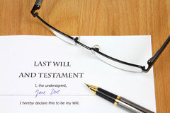 Last Will - Testament Stock Photos