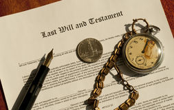 Last Will and testament. Closeup of a Last Will and testament document stock image