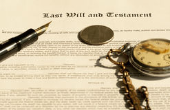 Last Will and Testament. Pen, dollar and clocks stock photos