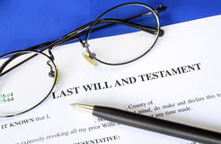 Last Will and Testament. Concept of estate planning stock images