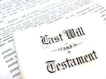 Last Will and Testament. Envelope with Last Will and Testament stock photos