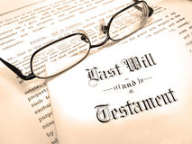 Last Will and Testament. Envelope with Last Will and Testament and Reading Glasses stock photography