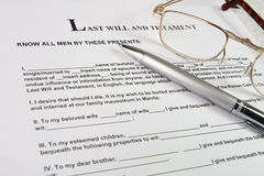 Last Will and Testament. Blank form for Last Will and Testament . Glasses document pen royalty free stock photos