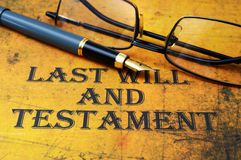 Last will and testament. Close up of Last will and testament royalty free stock images
