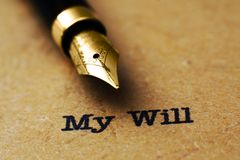 Last will and testament. Close up of Last will and testament stock photos