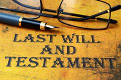 Last will and testament. Close up of Last will and testament royalty free stock photography