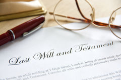 Last Will & Testament. Last Will and Testament concept image complete with spectacles and pen royalty free stock images