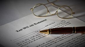 Last Will and Testament. Concept with spectacles and pen royalty free stock photography