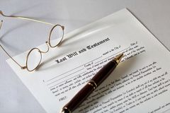 Last Will and Testament. Concept with spectacles and pen stock photo