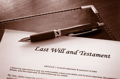Last Will and Testament. Document royalty free stock photo