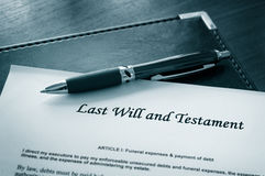Last will. And testament document with pen royalty free stock images