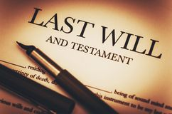 Last Will and Testament. Document Ready to Sign. Last Will Document and Fountain Pen Closeup Photo stock photography