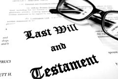 Last Will and Testament. Envelope with Last Will and Testament and Reading Glasses stock photos