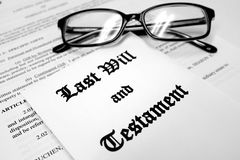 Last Will and Testament for Estate Planning with Glasses. Last will and testament for Estate Planning glasses stock photo
