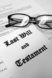 Last Will and Testament for Estate Planning with Glasses Stock Images