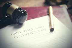 Last will and testament form with gavel stock photos