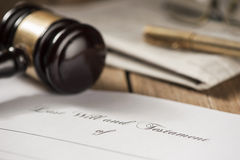 Last will and testament form with gavel Stock Images
