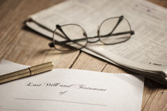 Last will and testament form with gavel. Last Will and Testament with legal gavel Stock Images