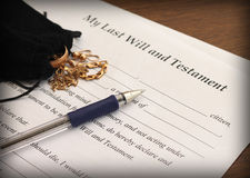 Last Will and Testament form with gold jewelry Royalty Free Stock Photos