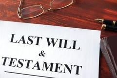 Last Will & Testament form. Stock Photos