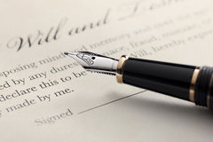 Last Will and Testament, Fountain Pen. Last will and testament document with closeup on fountain pen with signature line. Critical focus on founrain pen