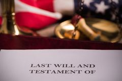 Last Will And Testament. Document On Desk stock images