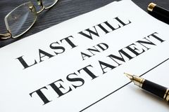 Last will and testament on a desk. Last will and testament on an office desk stock image