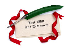 Last Will and Testament papers and quill pen Stock Photo