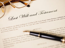 Last will and testament with pen and glasses Royalty Free Stock Image