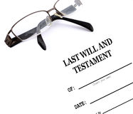 Last Will and Testament. And Reading Glasses Stock Images