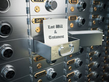 Last will and testament in the safe deposit box. Heritage concep Royalty Free Stock Images
