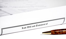Last Will and Testament wih a Pen Royalty Free Stock Images
