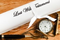Last Will With Locket, Key And Pen Stock Photography