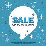 Last Winter sale, snowflakes, bubble. Banner with the inscription about the sale of 50% off. Last Winter sale, snowflakes, bubble stock illustration