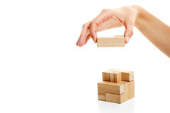 Last wooden puzzle piece Stock Image