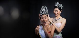 Put Diamond Crown on Final Winner latest year Miss Beauty Queen. Last year winner Miss Beauty Pageant Contest put Diamond Crown on Final Winner latest year Miss stock photos