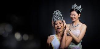 Put Diamond Crown on Final Winner latest year Miss Beauty Queen. Last year winner Miss Beauty Pageant Contest put Diamond Crown on Final Winner latest year Miss stock photography