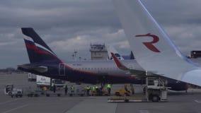 Lasta av bagaget från nivån av Aeroflot i Sochi den internationella flygplatsen lagerföra längd i fot räknatvideoen arkivfilmer