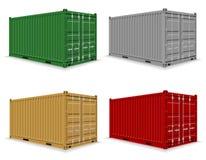 Lastbehållare för leveransen och trans. av merchandien vektor illustrationer