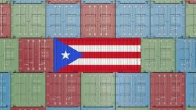 Lastbehållare med flaggan av Puerto Rico Släkt animering 3D för import eller för export vektor illustrationer