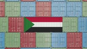 Lastbehållare med flaggan av Sudan Sudanesisk släkt animering 3D för import eller för export royaltyfri illustrationer