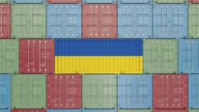 Lastbeh?llare med flaggan av Ukraina Ukrainsk sl?kt animering 3D f?r import eller f?r export vektor illustrationer