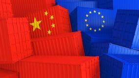 Lastbehållare med flaggor av Europa och Kina Begreppet av handel mellan Europa och Kina 3d framför arkivbild