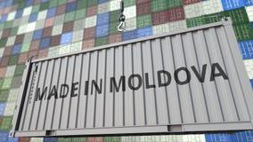 Lastbehållare med GJORT I den MOLDAVIEN överskriften Moldavisk släkt loopable animering för import eller för export stock video