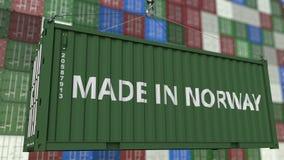 Lastbehållare med GJORT I den NORGE överskriften Norsk släkt loopable animering för import eller för export lager videofilmer