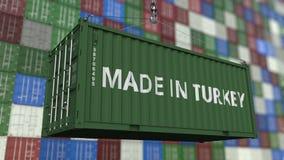 Lastbehållare med GJORT I den TURKIET överskriften Turkisk släkt loopable animering för import eller för export arkivfilmer