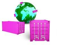 Lastbehållare och grönt jordklot, illustration 3D Arkivbilder
